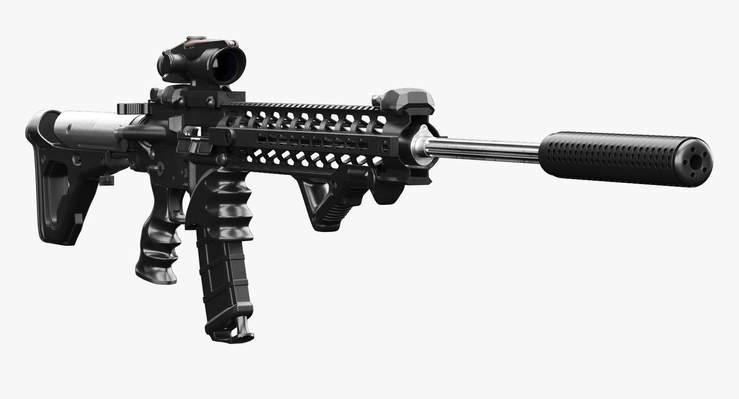 assault rifle ar-15 3d model