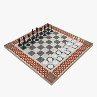 ornamental chess set 3d model