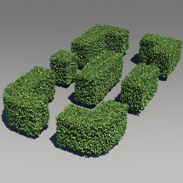 hedge bushes 3d model