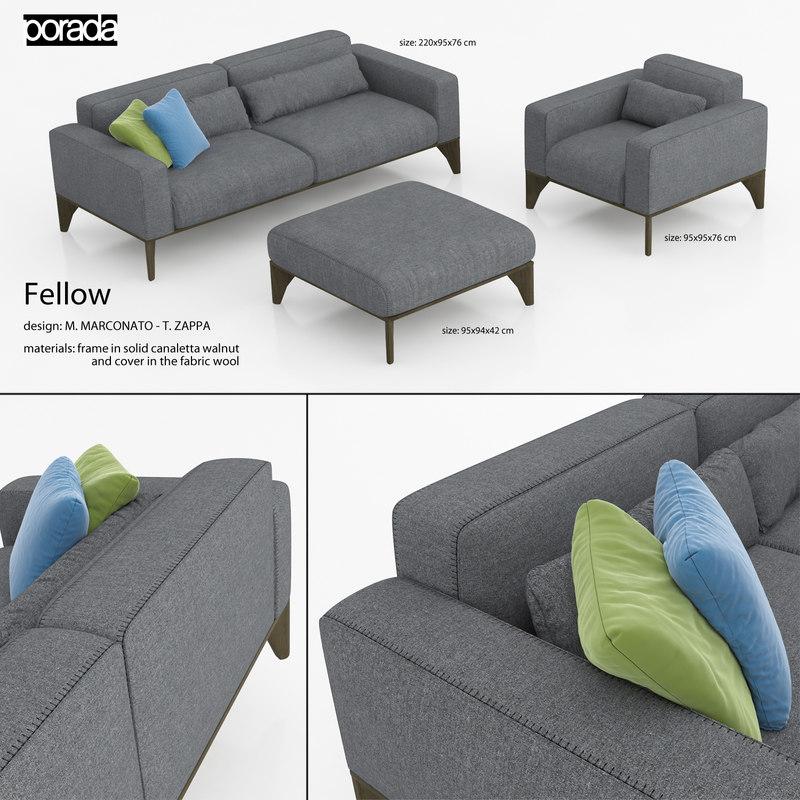 3d model fellow living room furniture sofa