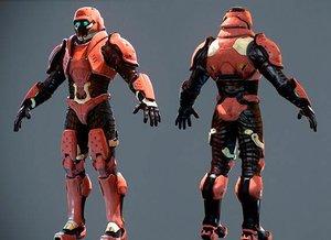 sci fi male soldier 3d model
