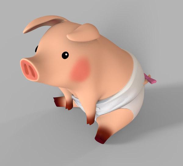 3d model tiny pig