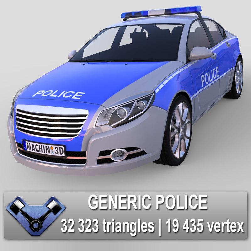 generic police majestic 3d max