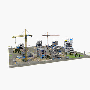3d model construction site block street