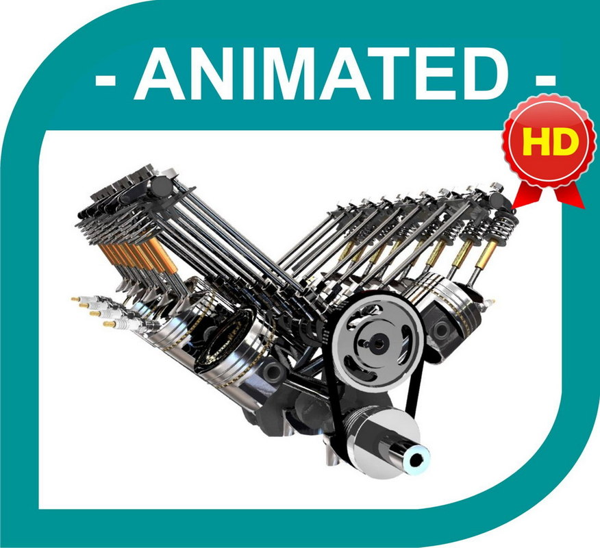 V8 Engine Animation 3d model v8 engine - f...