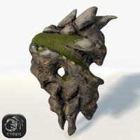 3d floating island rock