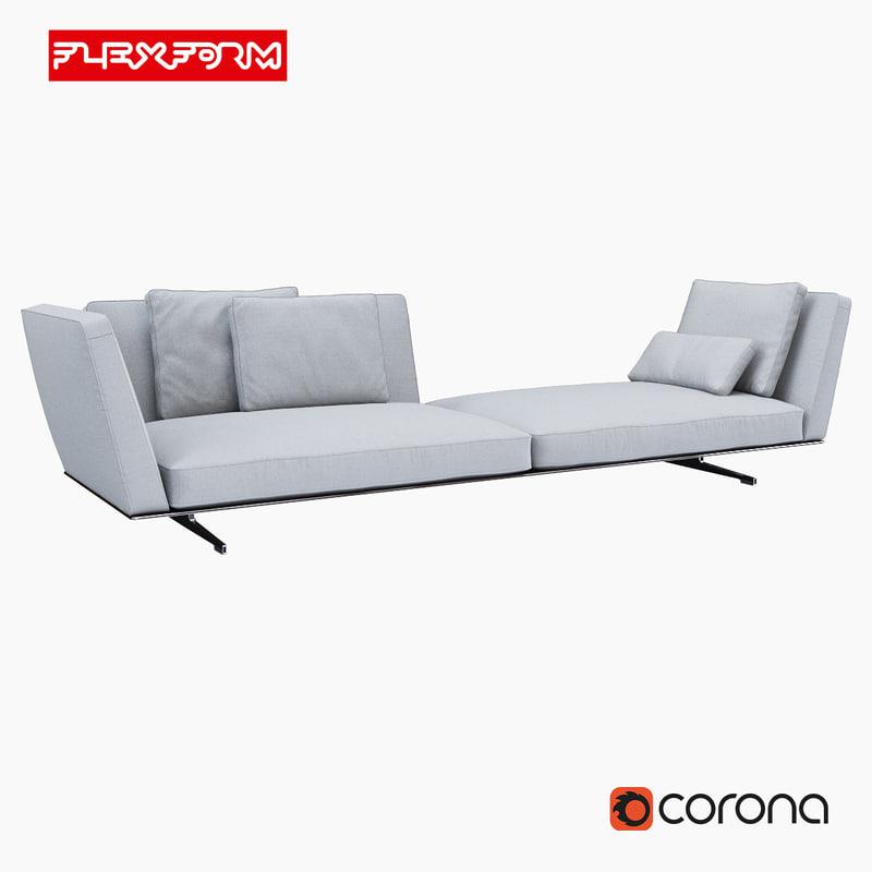sofa flexform evergreen obj