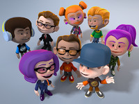8 cartoon characters 3d max