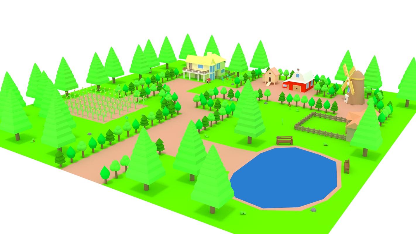 cartoon farm house trees 3d 3ds