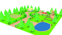 cartoon farm house trees 3d 3ds