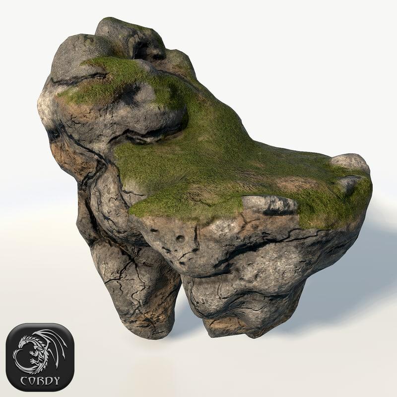 3d model floating island cave