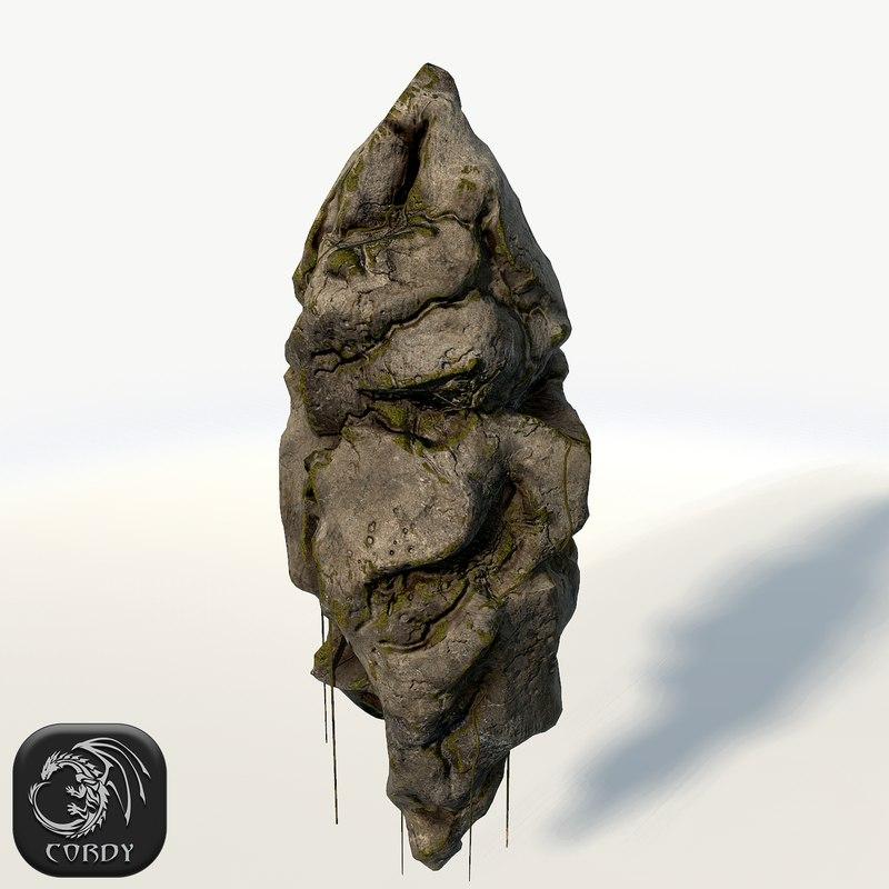 3d 3ds floating rock