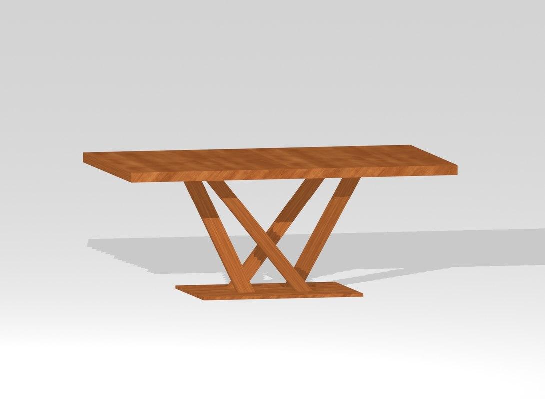 designer wooden table 3d model