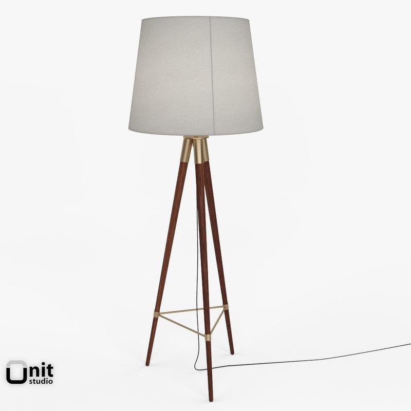tripod mid-century floor lamp 3ds