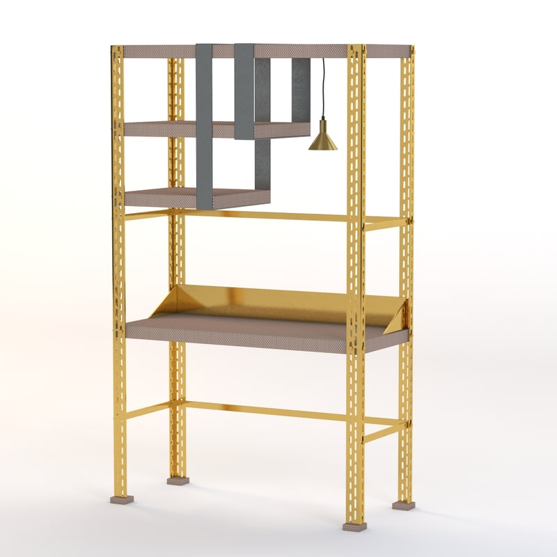 3d model scaffale d arte