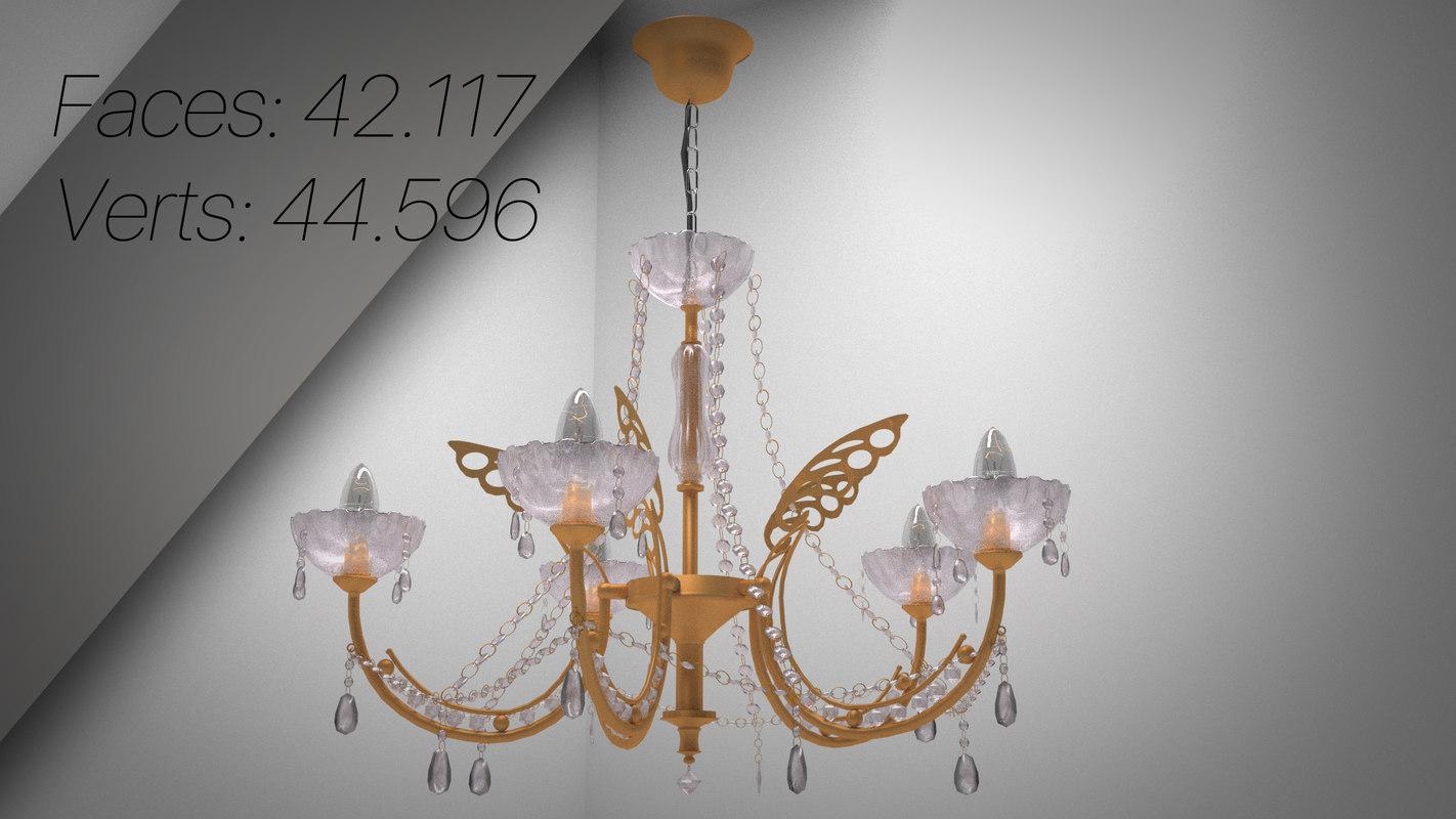 gold crystal chandeliers 3d model