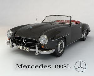 3d mercedes 190sl cabriolet