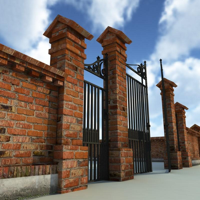 brick fence wall gate 3d model