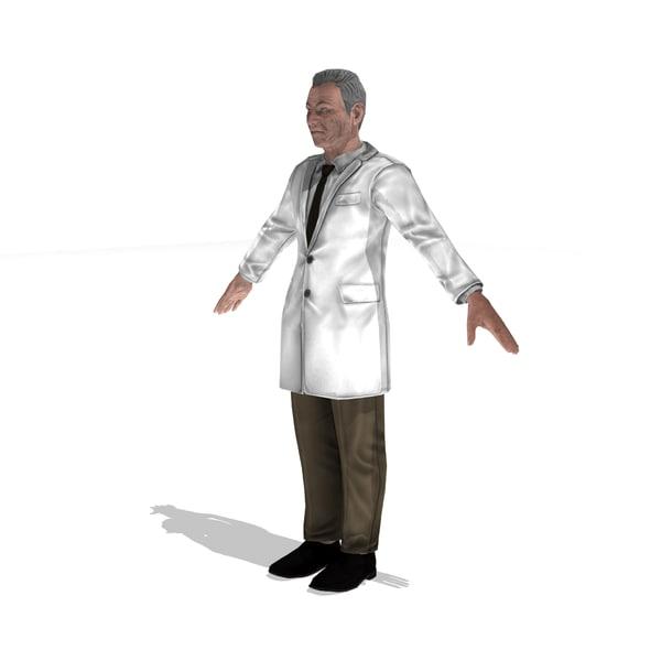 3d scientist man rigged