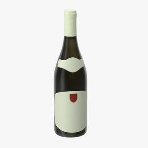 3d chardonnay bottle closed