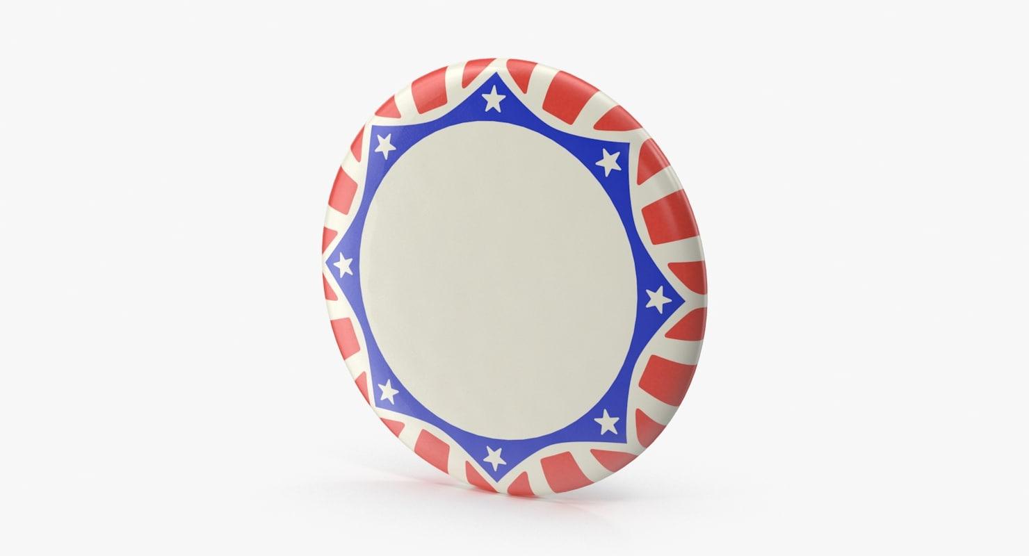 stars stripes campaign button 3d model