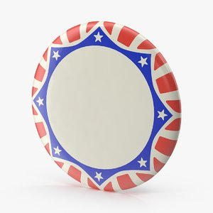 stars stripes campaign button 3d model