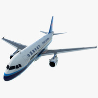 Airbus A319 China Southern Airlines Rigged 3D Model