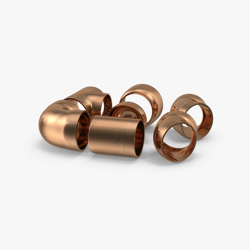 copper pipe fittings 3d model