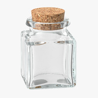 3d glass jar cork stopper model