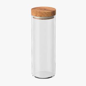 3d model kitchen jar wood lid