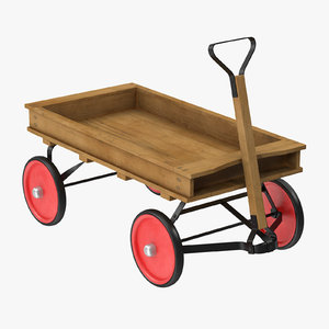 3d model child wagon 01