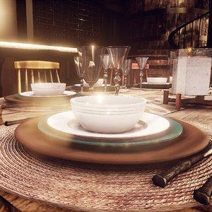 set modern plate unreal 3d model