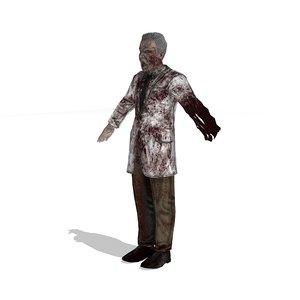 scientist zombie 3d model