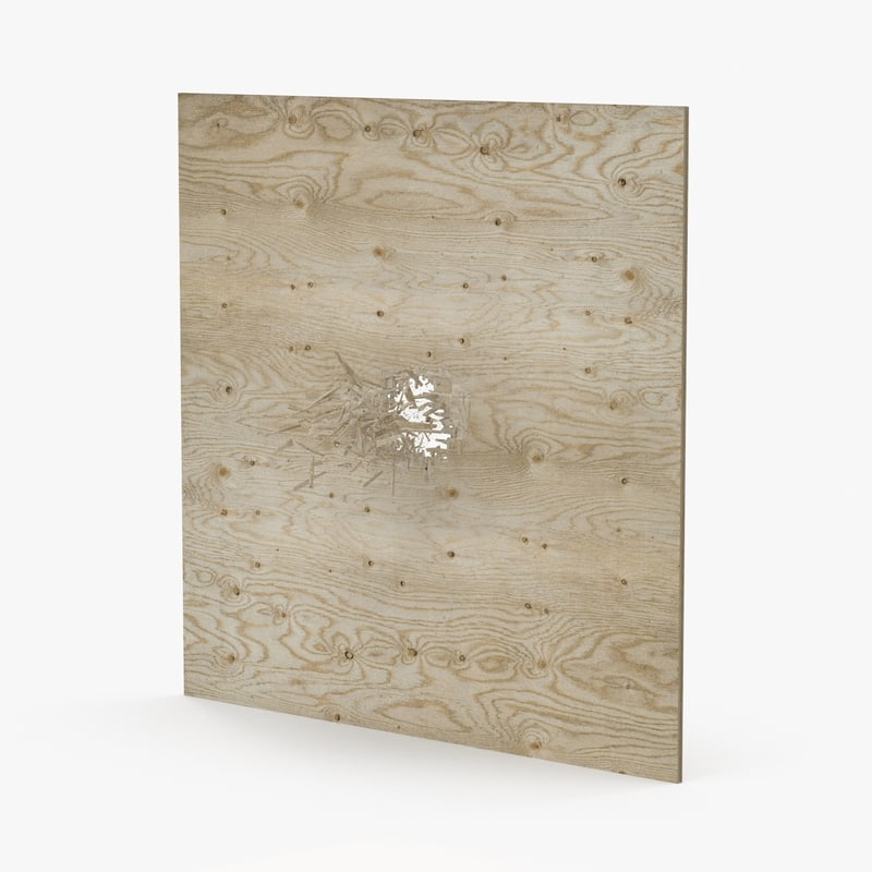 splintered bullet hole plywood 3d model