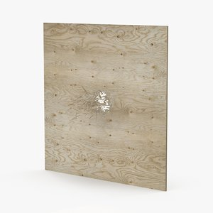 splintered bullet hole plywood 3d model