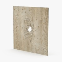 3d bullet hole plywood model