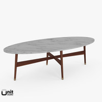 3d handcrafted mid-century oval coffee table