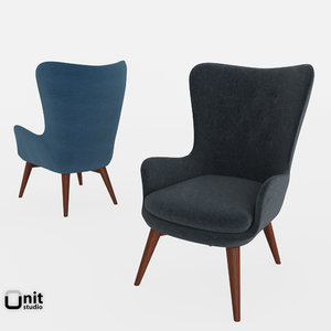 3d model niels wing chair west