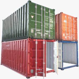 20ft cargo container props 3d model
