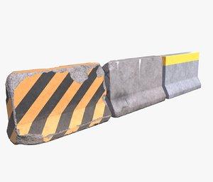 concrete road barrier props 3d model