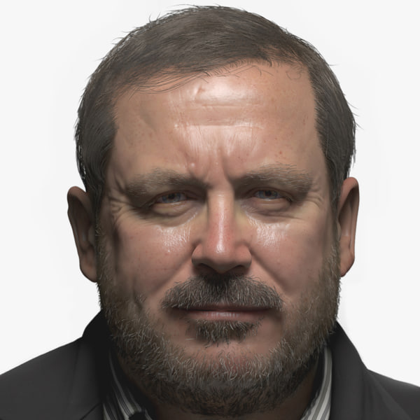3d model realistic male head