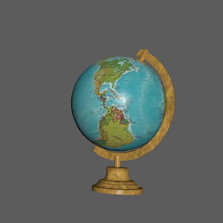 3d globe brass model
