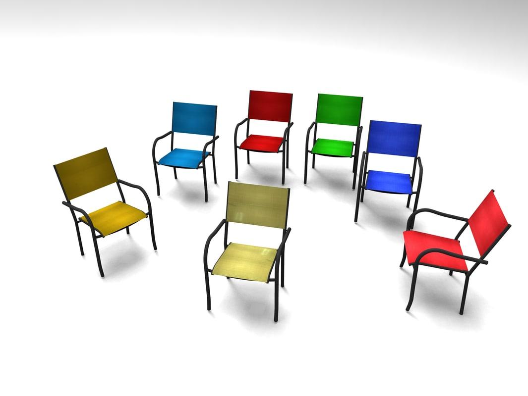 free chair set 3d model