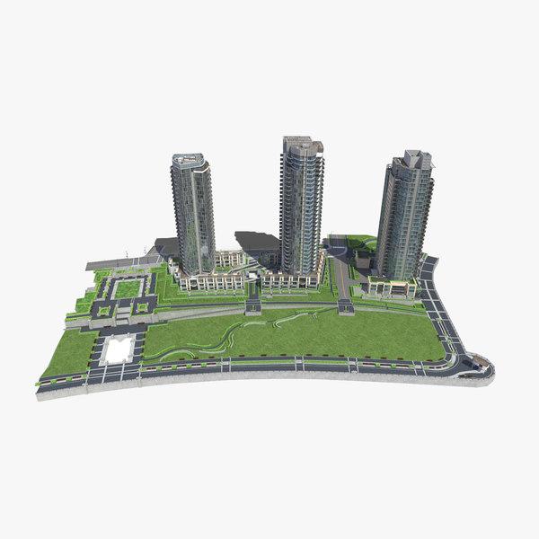 block buildings 3d model