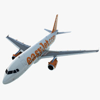 3d airbus a319 easyjet rigged
