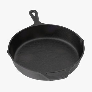 3d model of cast iron 10in skillet