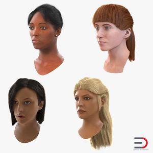 female heads woman 3d model