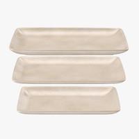 pottery serving rectangular plate 3d c4d