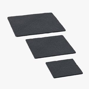 3d model slate square plates