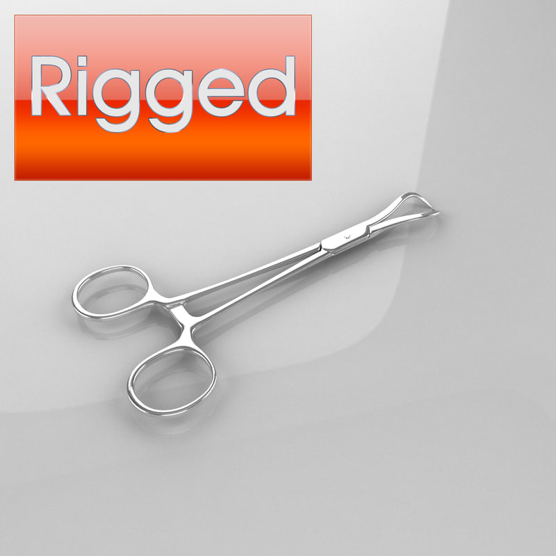 medical scissors rigged 3d model